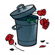 Roses flowers in Trash bucket - Stock Vector