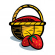 Basket with strawberry - Stock Vector