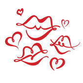 Hearts and Kisses — Stock Vector