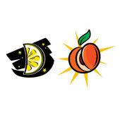 Sol lua e pêssego de limão — Vetorial Stock