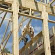 Stock Photo: Framing the roof an house