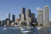 Boston skylines taken from the Charles River — Stock Photo