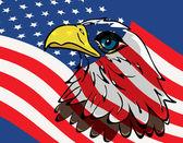 Eagle over USA flag — Stock Vector