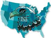 Eagle over USA map — Stock Vector