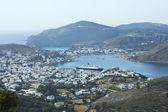 Cityscape and harbor of Skala — Stock Photo