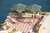 Patio and parasols — Stock Photo