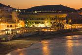 Hersonissos harbor at twilight — Stock Photo