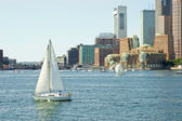 Boston skylines taken from sailing boat — Stock Photo