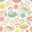 Seamless pattern with swans. — Vettoriale Stock