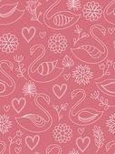 Rosa nahtlose muster mit schwäne. vektor-illustration. — Stockvektor
