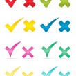 Check marks and crosses.Vector illustration. — Vettoriali Stock