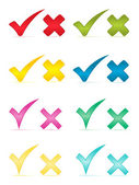 Las marcas de verificación y la ilustración crosses.vector. — Vector de stock