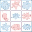 Flower icons. Vector illustration. — Stock Vector