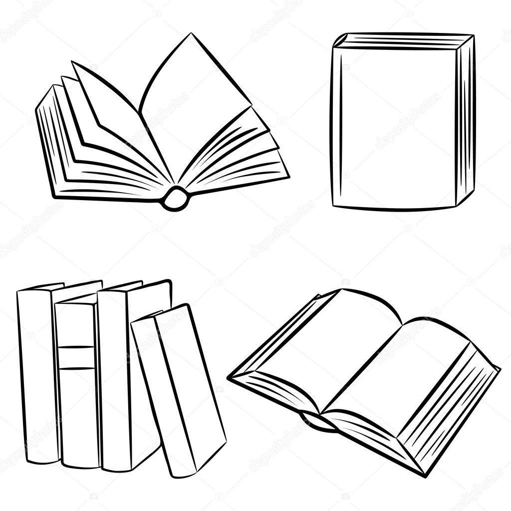 Line Art Vector Illustrator : Books vector illustration — stock bellenixe