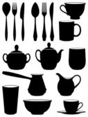 Set of silhouettes dishes. Vector illustration. — Stock Vector