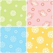 Set of seamless nature patterns with flowers and butterflies. Vector illust — Stock Photo