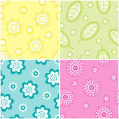 Set of seamless nature patterns. Vector illustration. — Stock Vector