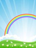 Summer landscape with a rainbow. Vector illustration. — Stock Vector