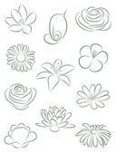 Set of flowers. Vector illustration. — Stock Vector