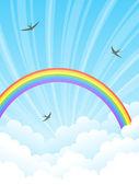 Arco-íris e nuvens. ilustração vetorial. — Vetorial Stock