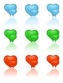 Kalp simgeler kümesi. vektör çizim. — Stok Vektör