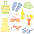 Stock Vector: Set of beach accessories.