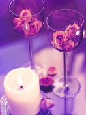 Goblets and candle — Stock Photo