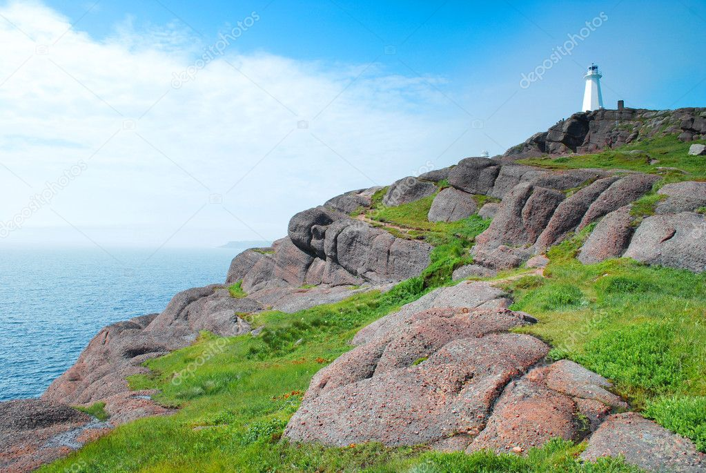 Cape Spear Lighthouse in Newfoundland  Stock Photo #5078235
