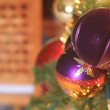 Royalty-Free Stock Photo: Purple Metallic Christmas Ornaments on Tree