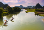 Sunset over the Yulong River — Stock Photo