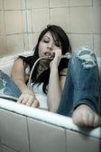 Woman bathroom talking — Stock Photo