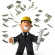 Stock Photo: Architect, worker 3d illustration
