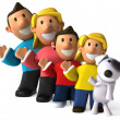 Family 3d illustration — Stock Photo