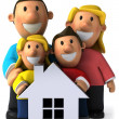 Foto Stock: Family 3d illustration