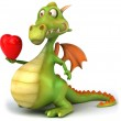 Dragon with hearts 3d illustration — Stock Photo #4369434
