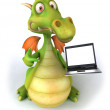 Dragon with laptop 3d illustration — Stock Photo