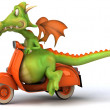 图库照片: Dragon on moto 3d illustration