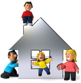 Family with house 3d illustration — Stock Photo