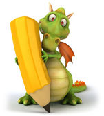 Dragon with crayon 3d illustration — Stock fotografie
