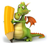 Dragon with crayon 3d illustration — Stock Photo