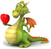 Dragon with hearts 3d illustration — Stock Photo
