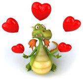 Дракон с 3d Иллюстрация сердца — Стоковое фото
