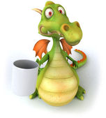Dragon with a cup 3d illustration — Stock Photo