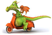 Dragon on the moto 3d illustration — Stock Photo