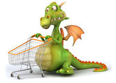Dragon with shopping cart 3d illustration — Stock Photo