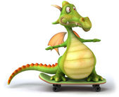 Dragon on the skatebord 3d illustration — Stock Photo