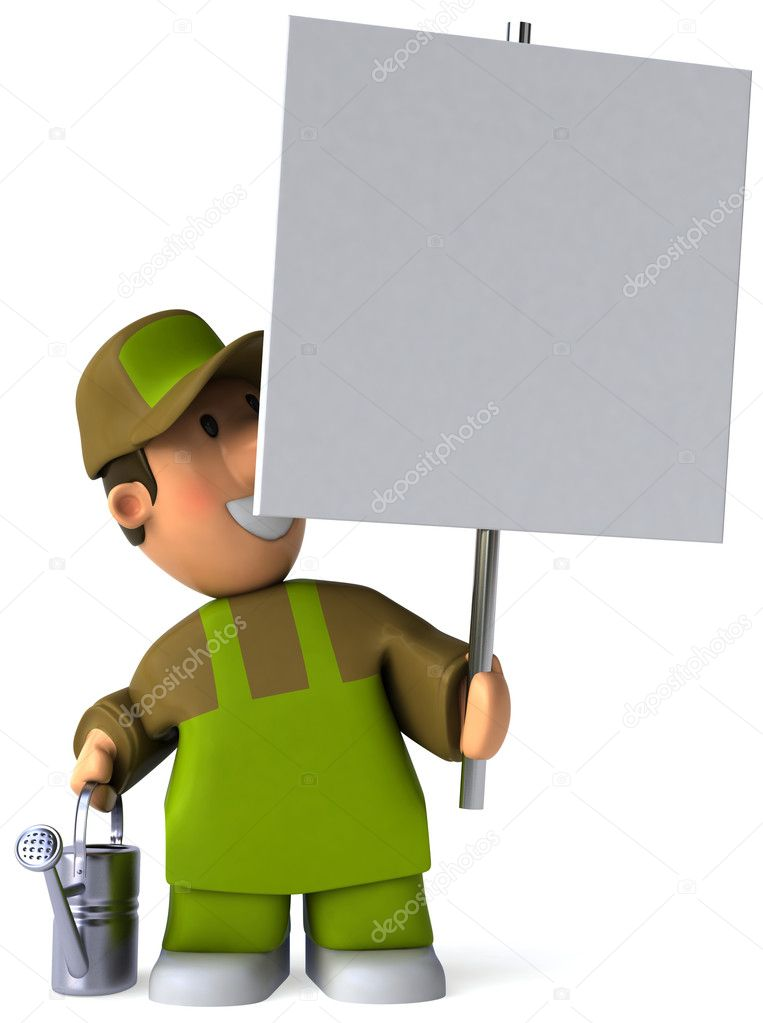 Gardener 3d illustration  Stock Photo #4364503