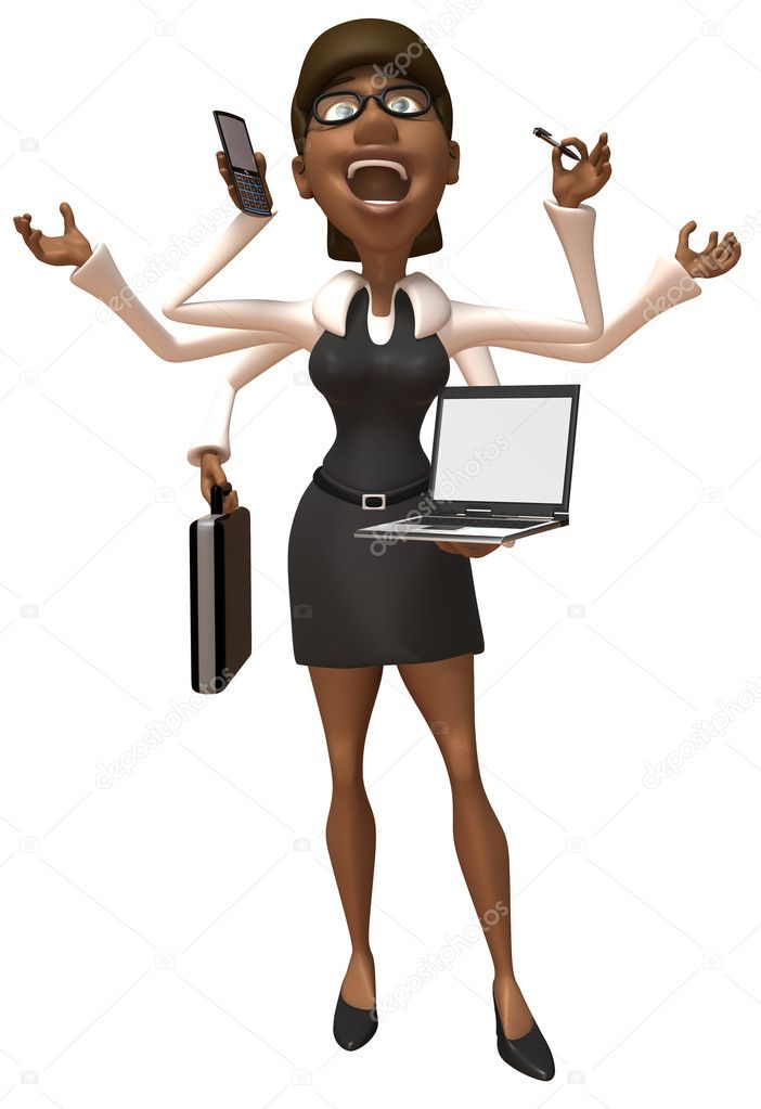 Business woman with many hands 3d illustration  Stock Photo #4366017