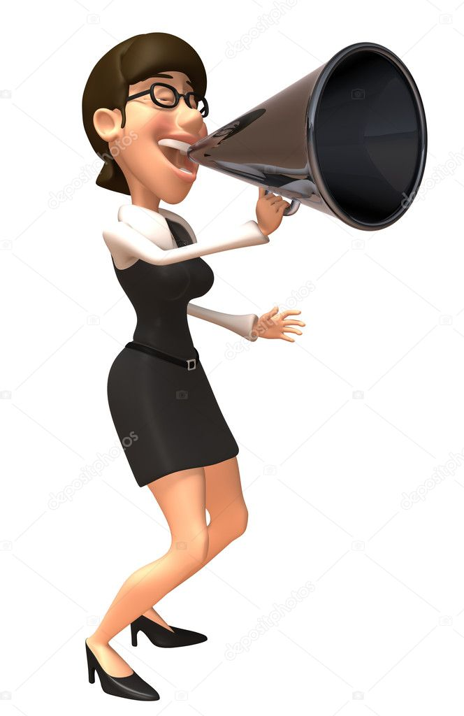 Business woman with loudspeaker 3d illustration — Stock Photo #4366294