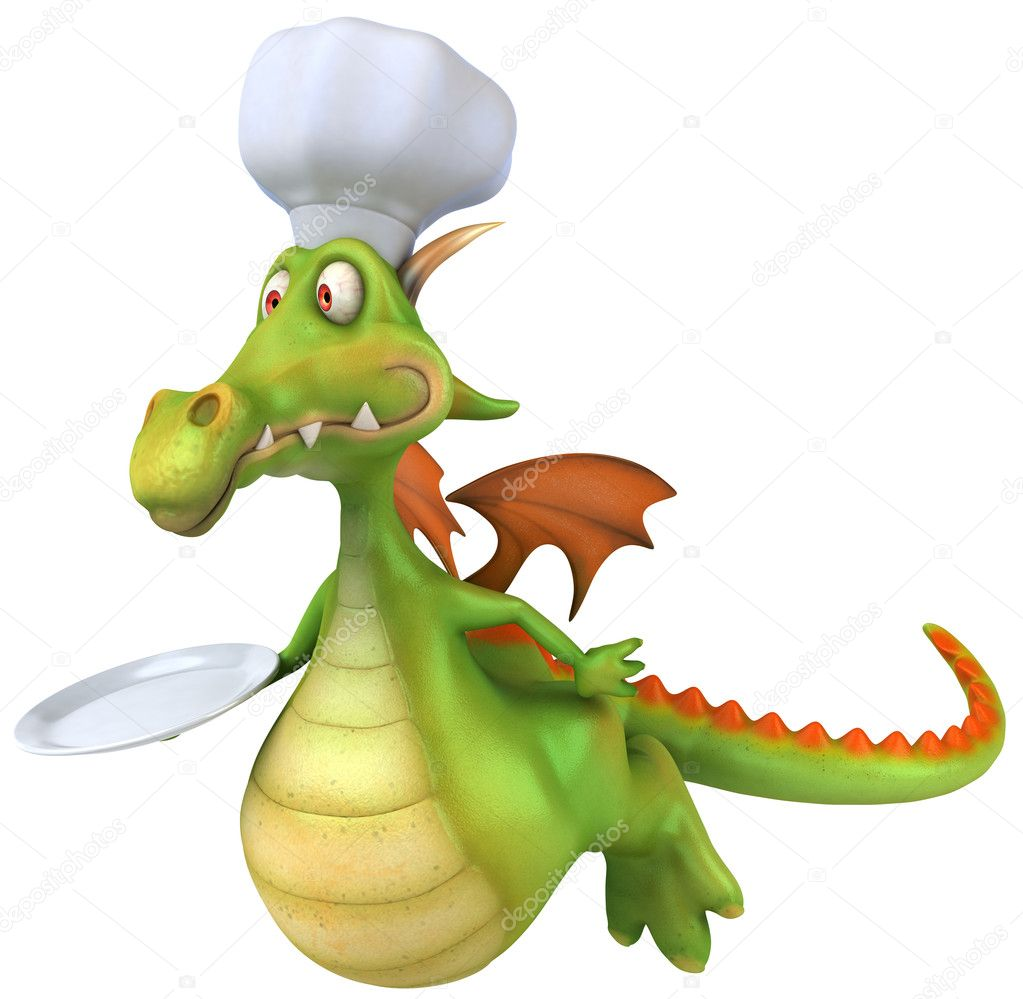 Dragon chef 3d illustration — Stock Photo #4369396
